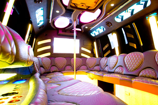 30 Passenger Party Bus interior Photo with orange lights